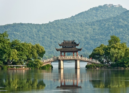 Bridge over a lake, China photo