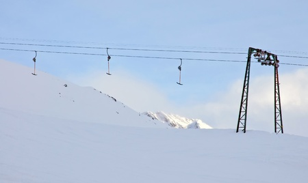 ski lift: The ski lift has stopped, Austria