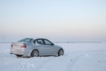 car park: Car in the snow, Holland Stock Photo