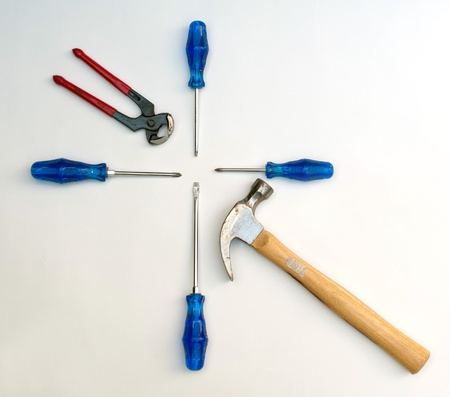 pinchers: Tools lined up Stock Photo