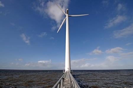 lelystad: Wind energy in a lake, Holland