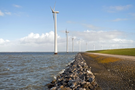lelystad: Windmills and a dam, Holland