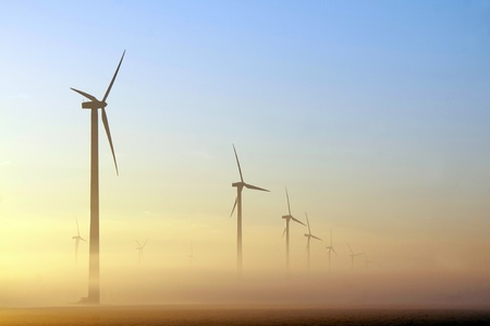 Windmills at dawn, Holland Stock Photo - 10903701