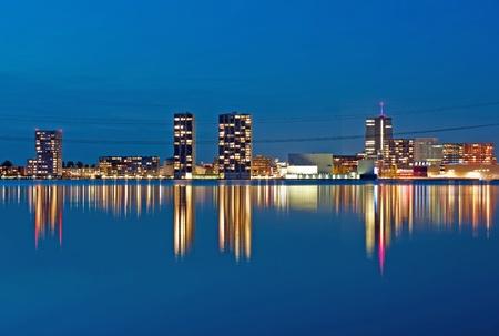 Illuminated reflection of architecture, Holland