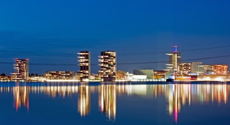 Illuminated skyline after sunset, Almere, Holland