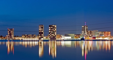 almere: Modern architecture at night, Almere, Holland