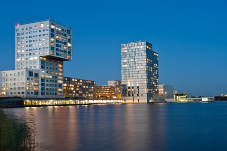 Modern architecture on a lake Stock Photo