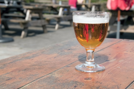 Glass of beer ready for consumption, belgium, europe