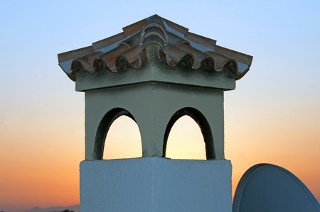 Typical Spanish chimney at dawn, Andalusia