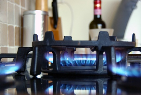Fire in the kitchen and a bottle of wine