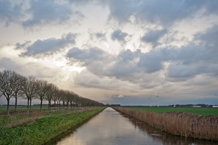 Water of a canal in perspective, Holland, Europe photo