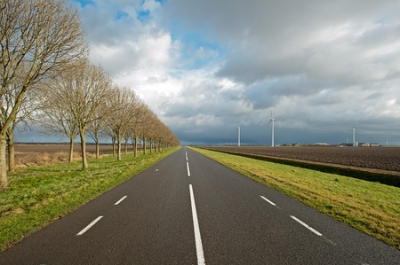 Deteriorating weather over a road photo