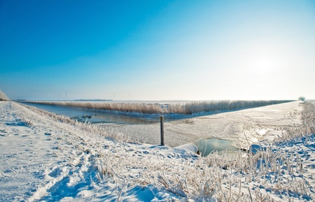 Two frozen canals in winter in perspective Stock Photo - 12423545