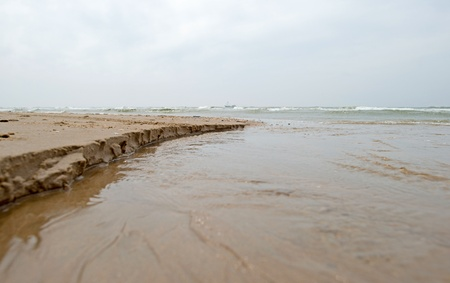 coastal erosion: Water running into the sea