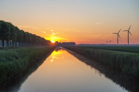 Dawn over a canal in spring Stock Photo - 13805711