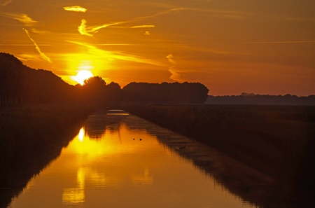 Dawn over a canal in spring Stock Photo - 13805686