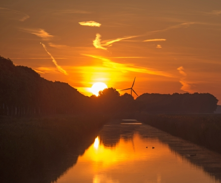 Dawn over a canal in spring Stock Photo - 13805563