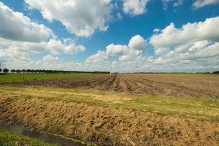 Furrows on a field in summer Stock Photo