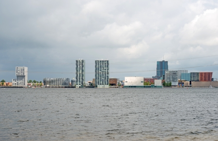 almere: Skyline of a city along a lake