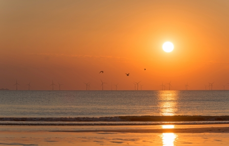 the north sea: Sunset at sea in summer