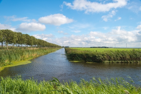 Canal through a Dutch landscape in summer photo