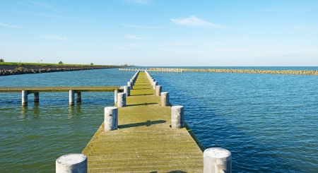 almere: Jetty in a lake in autumn Stock Photo