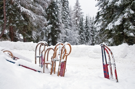 Sledges in the snow in winter photo