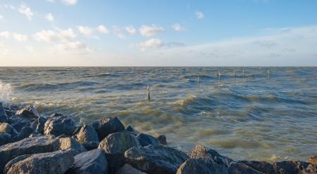 markermeer: Storm over a lake along a dike at fall