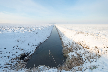 Ditch through a snowy countryside Stock Photo - 16814684