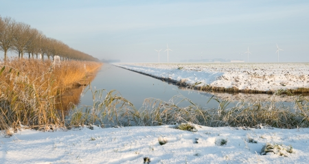 Canal through a snowy countryside photo