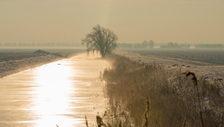 Sunbeam over a frozen canal photo