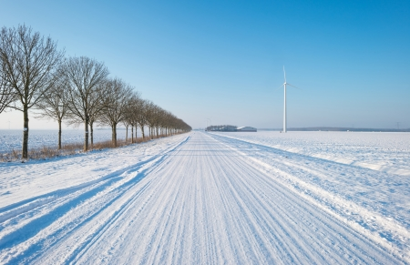 Snowy road in the countryside photo