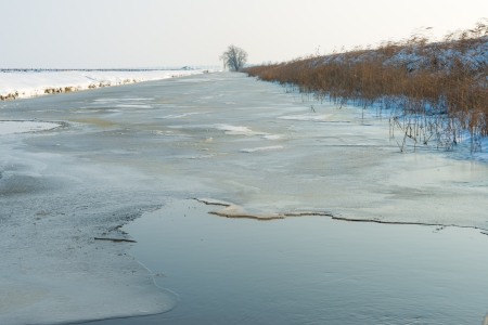 Canal with ice and water in winter photo
