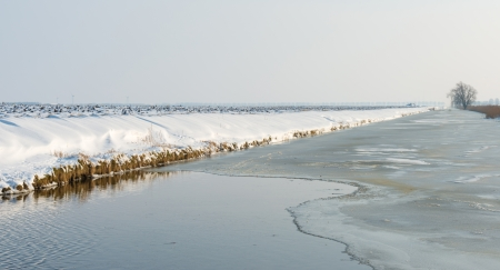 ice dam: Canal with ice and water in winter