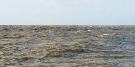 markermeer: Barge sailing in stormy weather