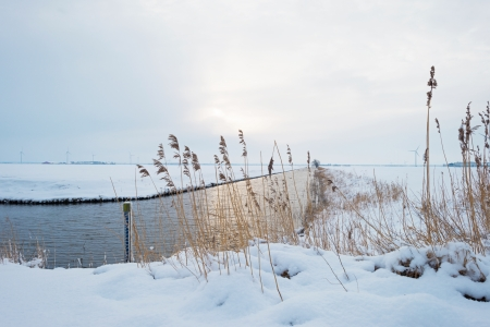 Canal through a snowy countryside in sunlight Stock Photo - 17800836