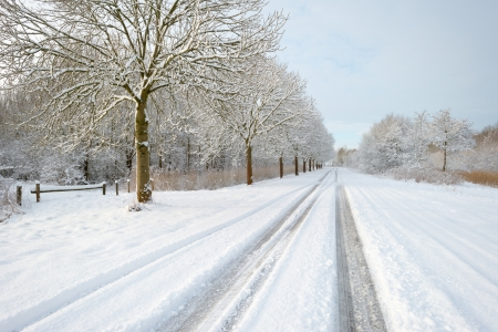 Snowy road through the countryside photo