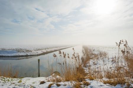 Canal through a snowy countryside photo
