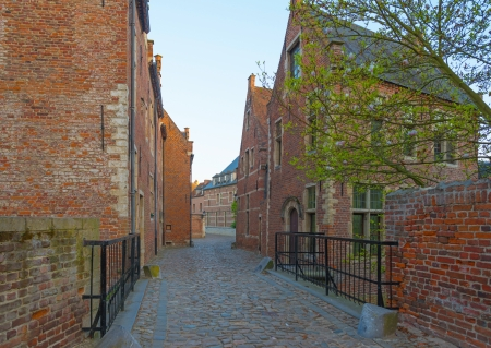 Street through the Grand Beguinage of Leuven 스톡 콘텐츠