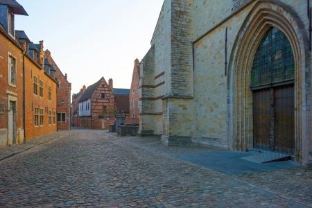 leuven: Street through the Grand Beguinage of Leuven Stock Photo