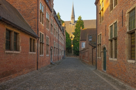 leuven: Street through the Grand Beguinage of Leuven Stock Photo
