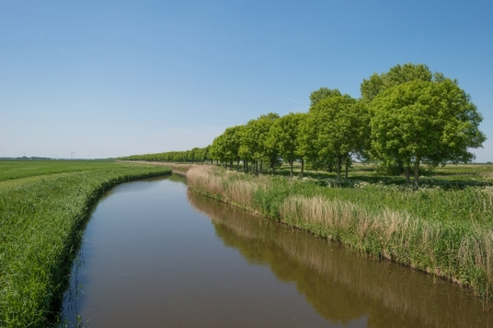 meandering: River meandering through the countryside Stock Photo
