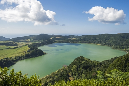 Lake in a volcanic crater near Furnas in the Azores photo