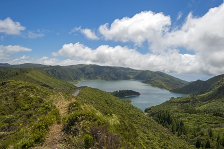 Lake in a volcanic crater in the Azores photo