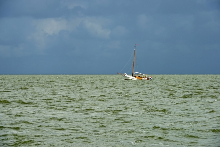 markermeer: Boat sailing on a lake in summer