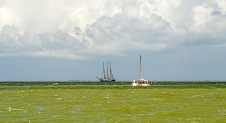 markermeer: Boats sailing on a lake in summer
