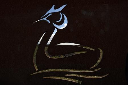lelystad: Bird etched in steel in a landscape