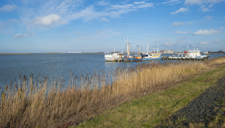 markermeer: Boats in a harbor along a dike in winter