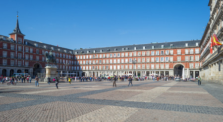 Plaza Mayor in Madrid in Spain in spring