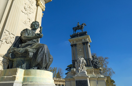 Equestrian statue in the Buen Retiro Park photo